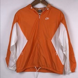 NIKE Orange and White Windbreaker Size Large